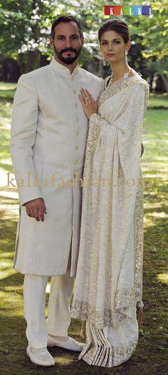 http://www.kalkifashion.com/  Prince Rahim Aga Khan Princess Salwa in Sherwani and saree outfits designed by Manav Gangwani