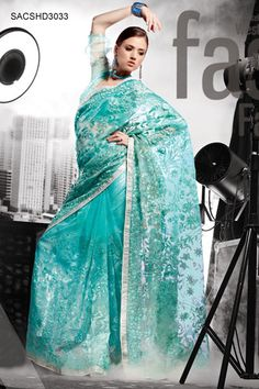 Self Embroidered Teal Saree