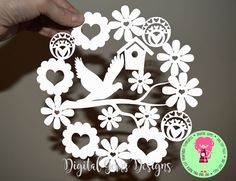 Dove and flower paper cut SVG / DXF / EPS files and a