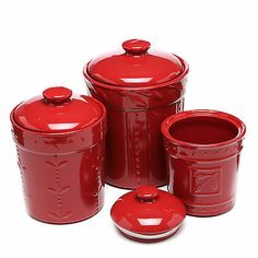 Red Canister Set Kitchen Storage Container Flour Sugar Coffee Housewarming Gift