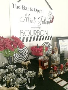 Mint Juleps and Bourbon are the beverage of choice at the Kentucky Derby! Kentucky Derby Inspired Party styled and designed by BellaGrey Designs
