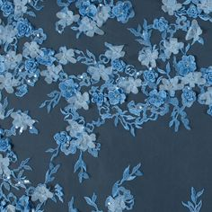 Radiant Light Blue 3D Floral Embroidered Tulle with Beads and Sequins