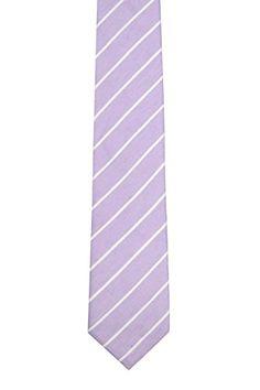 Notch Men's Linen Necktie – PIERCE – Light purple base with white stripes