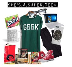 """Geek Girl"" by mony-nymo on Polyvore featuring H&M, WithChic, Wallace, Converse, Folio and Samsung"