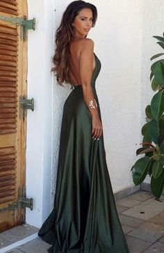 Elegant Simple Prom Dress,Sexy Backless Split Prom Dress,Cheap Prom Dress,Long V-Neck Prom Dress, Se on Luulla