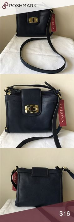 Merona navy blue crossbody bag Navy blue colored crossbody bag - 2 zipper compartments - middle snap compartment - turn lock flap - adjustable strap - new with tags! - vegan leather Merona Bags Crossbody Bags