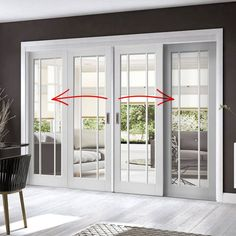 Easi-Slide OP1 White Worcester Three Pane Sliding Door System in Four Size Widths with Clear Glass