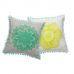 Emma Cleine Mandala Cushion Aqua Trim :: Crate Expectations ::    Relief print on linen / cushion insert from recycled water bottles.