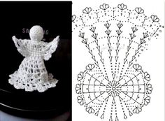 Lady With Crochet Male Aniolki Crochet Snowflake Pattern, Christmas Crochet Patterns, Holiday Crochet, Crochet Snowflakes, Crochet Motif, Crochet Doilies, Crochet Christmas Decorations, Crochet Decoration, Crochet Ornaments