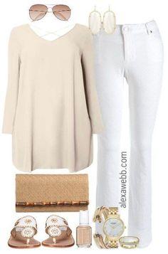 Plus Size Neutrals & White Jeans Outfit - Plus Size Outfit Idea - Plus Size… Look Plus Size, Curvy Plus Size, Plus Size Tops, Mode Outfits, Jean Outfits, Casual Outfits, Fashion Outfits, Plus Size Fashion For Women, Plus Size Women
