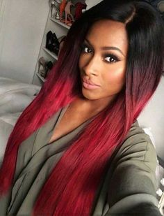 Amazon.com : Tsnomore Black to Red Silky Long Straight Synthetic Wig : Beauty