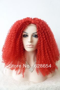 New design Hot red drag queen wigs kinky curly synthetic lace front wigs heat resistant super fluffy red wigs