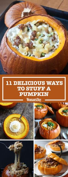 Why carve a jack-o'-lantern when you could stuff a pumpkin and eat it instead? Try these delicious ways to stuff a pumpkin for your next halloween or harvest party! Guests will love how creative and delicious the mac * cheese stuffed pumpkins are! Roast Pumpkin, Baked Pumpkin, A Pumpkin, Stuffed Pumpkin, Vegan Pumpkin, Pumpkin Ideas, Pumpkin Dessert, Thanksgiving Recipes, Fall Recipes