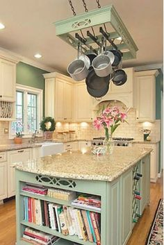 Charming Kitchen with Hanging Pots and Pans Rack