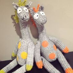 baby gift, knitted giraffe, giraffe stuffie, Mervin is a cute polka-dot giraffe who was designed and hand knit with love by…