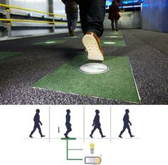 Kinetic Energy Generation From Footsteps  Born in the UK, pavegen has developed an energy recovery system powered through footsteps. Pavegen harnesses the kinetic energy from footsteps and converts it into renewable electricity. By stepping, jumping, or hopping on a 'pavegen floor tile', users create clean, off-grid electricity used to power multiple applications – from lighting, to interactive learning displays and charging points. Data can be collected on the harvested input.