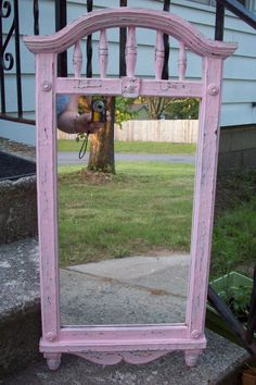 Pink Wall Mirror/ Vintage Syroco hand by UpcycledCottageDecor