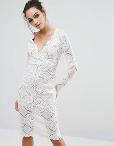 lace scallop dress midi