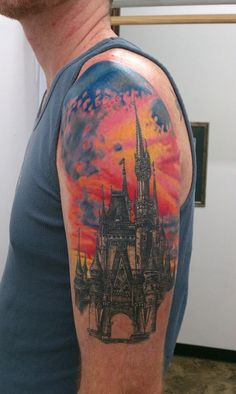 Well crafted castles tattoos can be one of the most comprehensive designs of a tattoo when done by a professional. The color reveals the mysteries behind the castles. Arm Tattoos, I Tattoo, Disney Castle Tattoo, Disney Cinderella Castle, Disneyland Castle, Wedding Paper Divas, Sweet Tattoos, Tattoo Designs, Tattoo Ideas