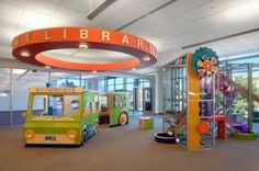 Laramie County Library children's area in Cheyenne, WY. LOVE THE INTERACTIVE FEATURES!