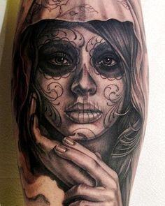 Pretty Santa Muerte tattoo. Click for more Drop Dead Gorgeous Santa Muerte Tattoos.