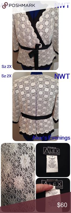 NWT Dressy Blouse Sz 2X Alex Evenings NWT Beautiful cream lace and sequin top. Alex Evenings Blouse is perfect for a cocktail party or ball. Pair with a long black skirt or palazzo pants! Super comfortable and a flattering neckline. Size 2X Alex Evenings Tops