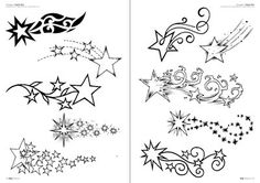 This is our third special edition dedicated to star tattoos. Bild Tattoos, New Tattoos, Body Art Tattoos, Cool Tattoos, Tatoos, Star Foot Tattoos, Moon Star Tattoo, Nautical Star Tattoos, Shooting Star Drawing
