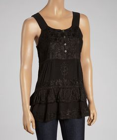 Look at this #zulilyfind! Black Embroidered Peplum Sleeveless Tunic by The OM Company #zulilyfinds