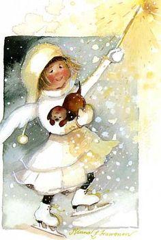 Postcrossing postcard from Finland Art And Illustration, Christmas Illustration, Christmas Pictures, Christmas Art, Skate Art, Winter Fun, Watercolor Art, Illustrators, Art For Kids