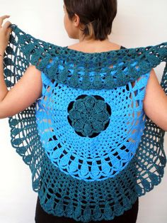 Mandala Fashion Shrug Bicolor Vest Woman Hand by NonnaLia, $75.00
