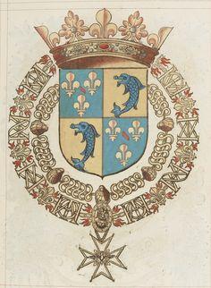 François de BOURBON, prince dauphin d'Auvergne, duc de Saint Fargeau, prince de sang, pair de France et seigneur du pays de Pinsay, capitaine de 100 hommes des ordonnances. Recueil de tous les chevaliers de l'ordre du Saint Esprit, par le sr de VALLES, 1631.