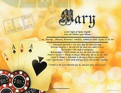 """Casino - Personalized First Name Meaning. Beautiful Quality 8.5"""" x 11"""" print You Supply: First Name, Birth Date (optional), and up to 60 characters of text (e.g. Happy Birthday - Love Mom & Dad, etc) We supply: name orgin, name meaning, traits (including career, money, relationships, etc.) Perfect gift for Anniversary, Birthday, Mother's Day, Father's Day, New Baby, Christmas, and many other occasions!."""