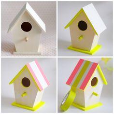 Neon & Pastel bird houses steps 1-4 by toriejayne, via Flickr