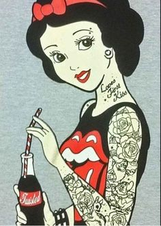 Punk Disney Rockabilly Snow White Vest Top psychobilly tattoo emo pinup scene Love*'*s first kiss. Why does no one know it's a g-d possessive? Could do without the coke, too.adds nothing. Dark Disney, Disney Love, Disney Art, Disney Gone Bad, Disney Pixar, Princesa Punk, Snow White Tattoos, Punk Princess, Disney Princess With Tattoos