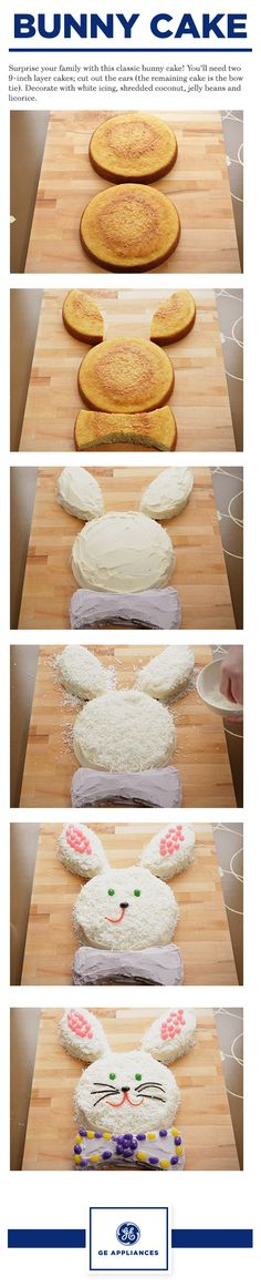 Follow these step by step instructions to make the traditional bunny cake you fondly remember from your childhood. You'll need two 9-inch layer cakes. Cut out the ears and the remaining cake is the bow tie. Decorate with white icing, shredded coconut, jelly beans and licorice.