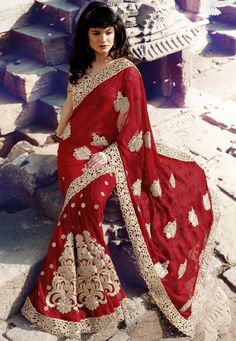 #Red Faux #Chiffon #Saree With Blouse @ $156.25