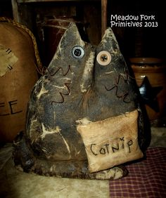 "Small ""Catnip"" extreme primitive Cat shelf sitter. Copyright 2013 Meadow Fork Primitives"