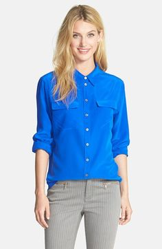 Two by Vince Camuto Silk Utility Blouse available at #Nordstrom мне так редко нравится голубой цвет)