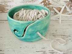 Yarn bowl green knit crochet ceramic handmade by SeamariesBounty