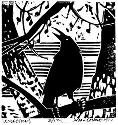 Inflections  block print ©Joan Colbert inspired by Wallace Stevens' Thirteen Was of Looking at a Blackbird