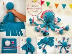No-Sew Fleece Octopus... how adorable!