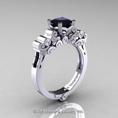 Classic Armenian 14K White Gold 1.0 Ct Princess by artmasters