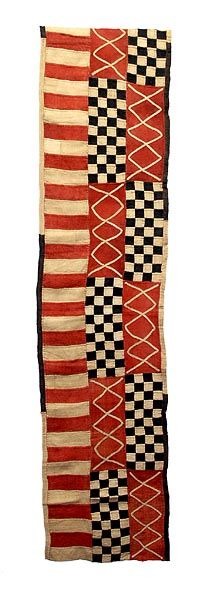 "Kuba, Ngeende Dance Skirt, 15' 4"" x 23"". Shown: an 8 foot length. Good info about the Kuba cloth. via Hamill Gallery"
