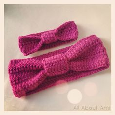 """Here is a matching mommy & baby """"Knotted Headband"""" set I made as a gift! You can get the free pattern for the adult version HERE...."""