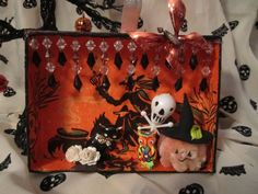 Black Cats, Witches and JOL - Halloween Shadow Box Diorama - Decoupage Vintage Napkin and Miniatures