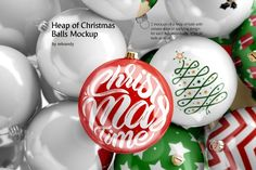 Heap of Christmas Balls Mockup. 2 mockups of a heap of balls with various ways of applying design: for each ball individually or for all balls at once. Christmas Mood, Christmas Balls, Xmas, Holiday, Mockup Templates, Design Templates, Animated Fonts, Design Bundles, Navidad