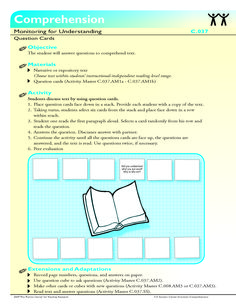 The student will answer questions to comprehend text.