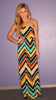 Chevron summer maxi dress! Very colorful :)