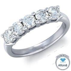 0.85 CT Five Stone Women's Engagement Ring Round Cut Diamond In 925 Silver 5-12 #Affoin8 #FiveStoneWomensEngagementRing