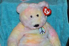 "TY Beanie Buddy PEACE (LARGE 24"") the Tie-Dye TEDDY BEAR - MWMT #TY"